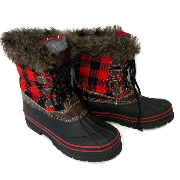 5001820f636c2 Warm Red Black Plaid Rubber Boots Thinsulate